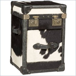 Hooker Furniture 1-Drawer Leather End Table in Black and White