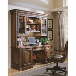 Hooker Furniture Brookhaven Computer Desk with Hutch in Clear Cherry