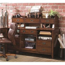 Hooker Furniture Danforth Credenza with Hutch in Rich Medium Brown