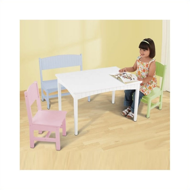 Delicieux KidKraft Nantucket Table With Bench And 2 Chairs In Pastel