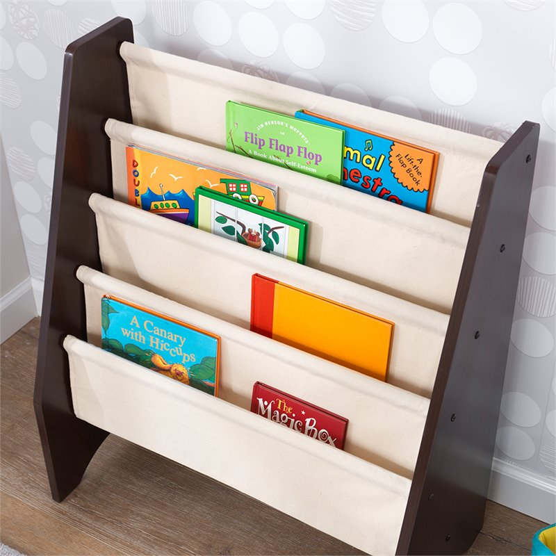 Details About Kidkraft 4 Pocket Sling Bookcase In Natural And Espresso
