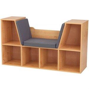 KidKraft 6 Cubby Bookcase with Reading Nook in Natural