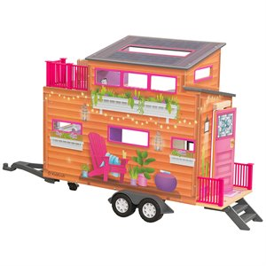 KidKraft 10 Piece Teeny Dollhouse in Purple and Pink