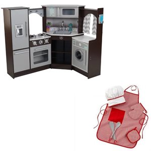 Kitchen 2 Piece Play Kitchen with Lights and Sounds and Chef Accessory Set