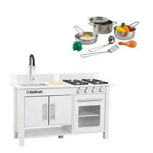 Complete Modern Kids Play Kitchen Set with Toy Cookware Set in White