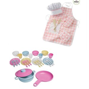 Kitchen Play Set with Chef Accessory and Toy Dish Play Set