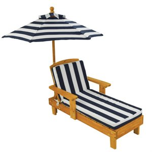 KidKraft Outdoor Chaise Lounge with Umbrella in Navy
