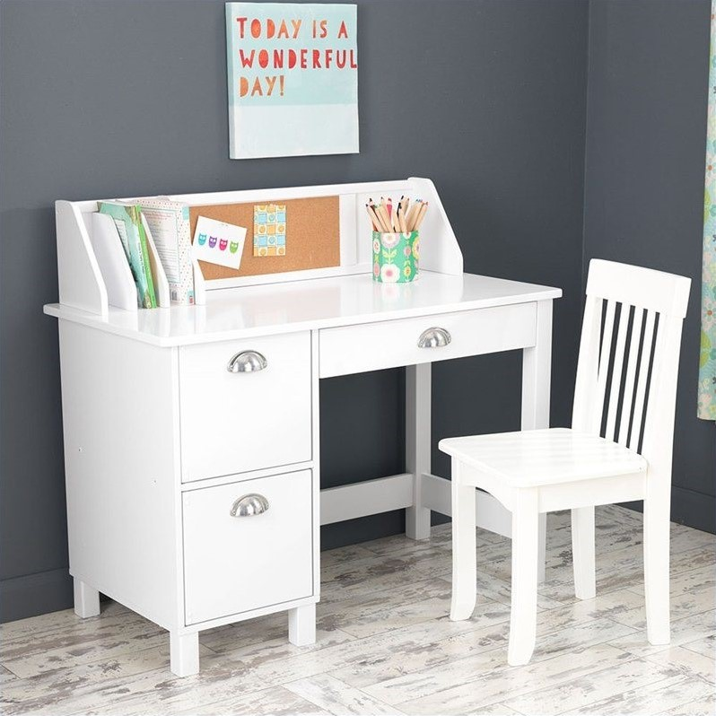 Kidkraft Kids Writing Desk And Chair In White