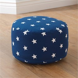 KidKraft Round Pouf in Navy with White Stars