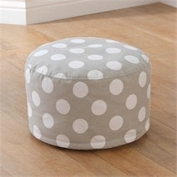 KidKraft Round Pouf in Gray with White Polka Dots