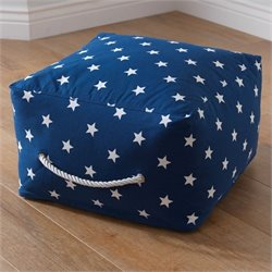 KidKraft Square Pouf in Navy with White Stars