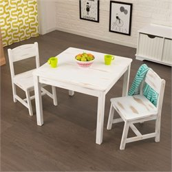 KidKraft Aspen Table and 2 Chair Set in Distressed White