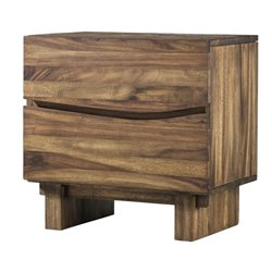 Modus Ocean 2 Drawer Solid Wood Nightstand in Natural Sengon