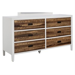 Modus Montana 6 Drawer Dresser in White Lacquer and Natural Sengon