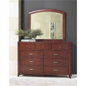 Modus Brighton 9 Drawer Double Dresser and Mirror Set in Cinnamon