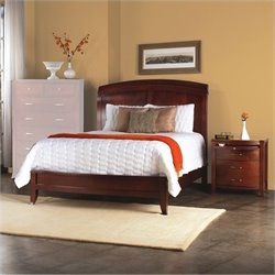 Modus Furniture Brighton Wood Low Profile Sleigh Bed 3 Piece Bedroom Set in Cinnamon