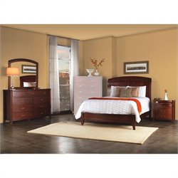 Modus Furniture Brighton Wood Low Profile Sleigh Bed 4 Piece Bedroom Set in Cinnamon