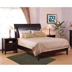 Modus City II Leatherette Low Profile Sleigh Bed in Coco 3 Piece Bedroom Set