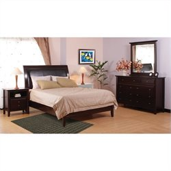 Modus City II Leatherette Low Profile Sleigh Bed in Coco 4 Piece Bedroom Set