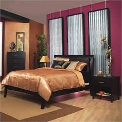 Modus Furniture Nevis Low Profile Wood Sleigh Bed in Espresso 3 Piece Bedroom Set