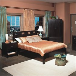 Modus Furniture Nevis Riva Modern Low Profile Wood Platform Bed 3 Piece Bedroom Set in Espresso