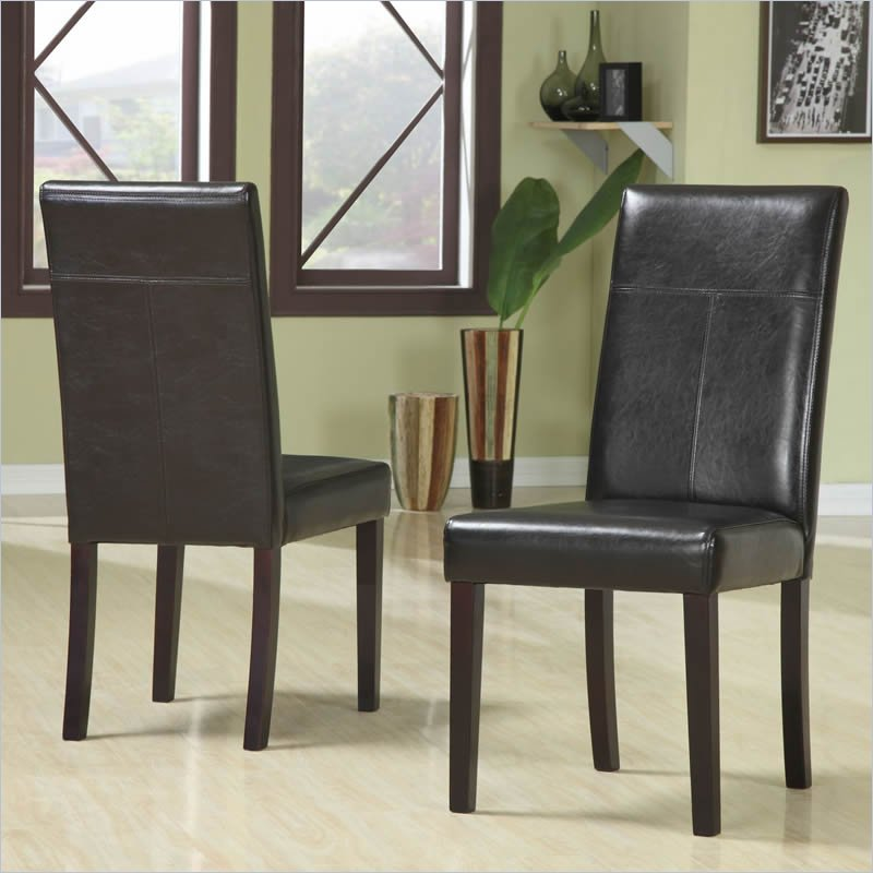 Modus Furniture Urban Seating Leatherette Parson Dining Chair in Chocolate (Set of 2)