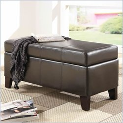 Modus Urban Seating Blanket Storage Bench in Chocolate Leatherette