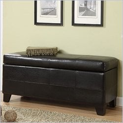 Modus Upholstered Milano Blanket Storage Bench in Black Leatherette