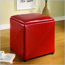 Modus Upholstered Milano Storage Cube in Red Leatherette