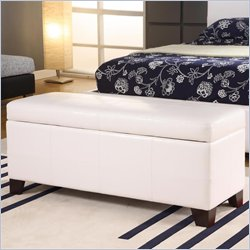 Modus Milano Bedroom Storage Bench in White Leatherette