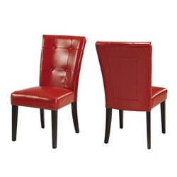 Modus Bossa Chocolate Brown Parsons Dining Chair in Red Leatherette(Set of 2)