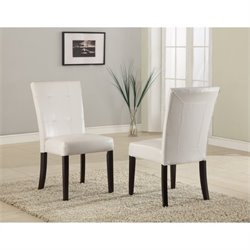 Modus Bossa Parsons Dining Chair in White Leatherette (Set of 2)
