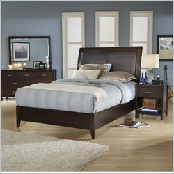Modus Urban Loft Low Profile Wood Sleigh Bed in Chocolate Brown 3 Piece Bedroom Set