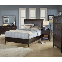 Modus Furniture Urban Loft 5 Piece Low Profile Sleigh Bedroom Set in Chocolate Brown