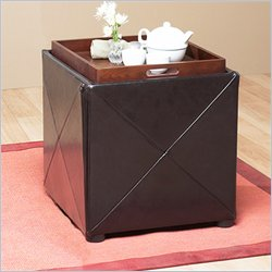 Modus Milano Upholstered Storage Cube in Chocolate Brown Leatherette