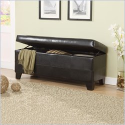 Modus Furniture Upholstered Milano Blanket Storage Bench in Chocolate Leatherette