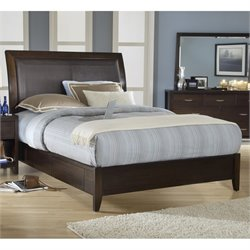 Modus Furniture Urban Loft Leatherette Upholstered Low Profile Storage Platform Bed in Chocolate Brown - Full
