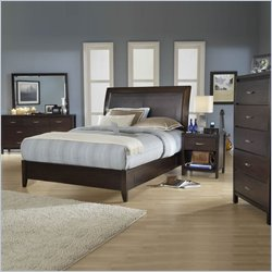 Modus Urban Loft Low Profile Storage Bed 5 Piece Bedroom Set in Chocolate Brown Finish