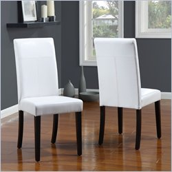 Modus Urban Seating Parsons Dining Chair in White Leatherette (set of 2)