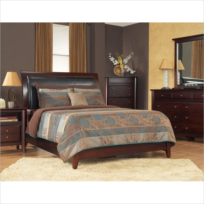 Modus City II Faux Leather Storage Bed in Coco 5 piece Bedroom Set
