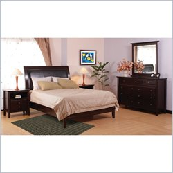Modus Furniture City II Leatherette Low Profile Sleigh Bed in Coco 5 Piece Bedroom Set