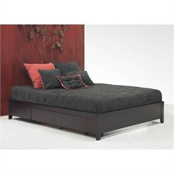 Modus Furniture Nevis Espresso Simple Platform Storage Bed 4 Piece Bedroom Set