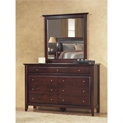 Modus City II 9 Drawer Double Dresser and Mirror Set in Coco