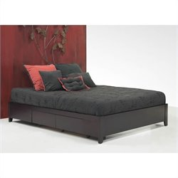 Modus Furniture Nevis Simple Platform Storage Bed in Espresso 3 Piece Bedroom Set
