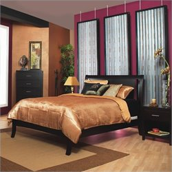 Modus Furniture Nevis Low Profile Sleigh Bed in Espresso 4 Piece Bedroom Set