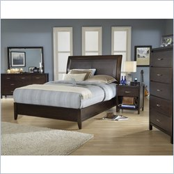 Modus Furniture Urban Loft Leatherette Upholstered 2 Piece Sleigh Bedroom Set in Chocolate