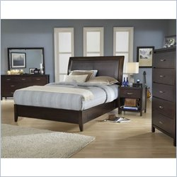 Modus Furniture Urban Loft Leatherette Upholstered 6 Piece Storage Bedroom Set in Chocolate