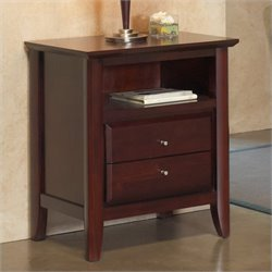 Modus City II Charging Station Two Drawer Nightstand in Coco