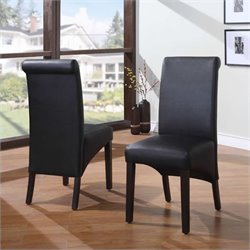 Modus Cosmo Sleigh BackParson Dining Chair in Jet Black (Set of 2)