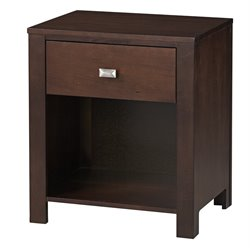 Modus Furniture Riva One Drawer Nightstand in Chocolate Brown